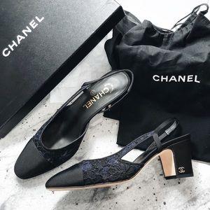 Chanel navy & black lace slingbacks 38